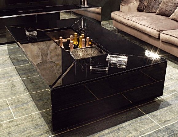 Visionnaire IPE Cavalli Pelleas Luxury Italian Designer Coffee Table In  Black Lacquered Beveled Glass With A Multiply Plywood Frame And Plinth In  Stainless ...