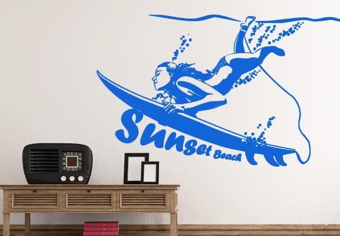Pas Cher Grand Mur Autocollants Surf Fille Sticker Home Decor Haute