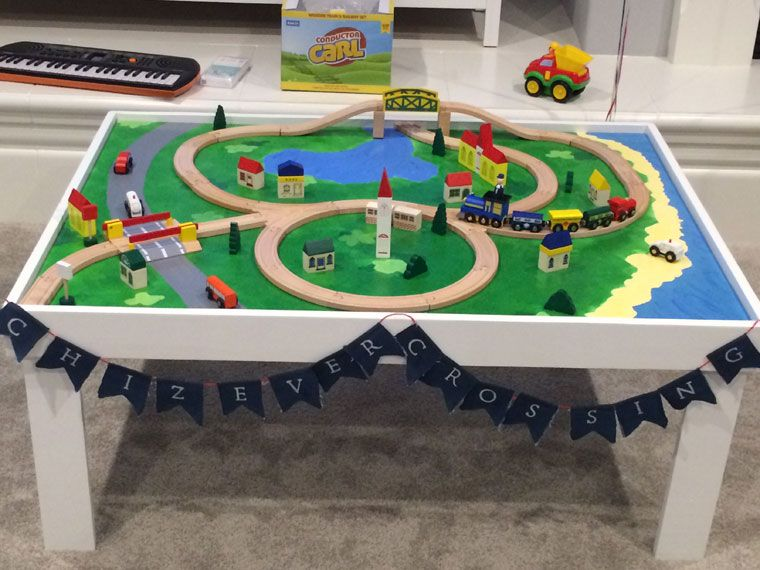 DIY Train Table    Including Instructions For Screwing In Tracks From Below  So The Train Layout Can Be Changed.