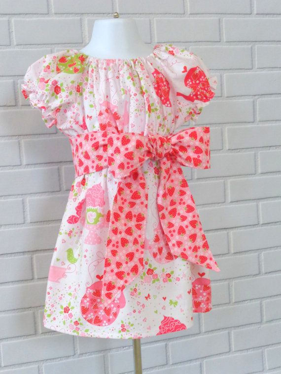 Girls Valentines Day Easter Dress Hearts Straberry by LuckyLizzys, $36.00 (pattern from https://www.etsy.com/shop/whimsycouture)