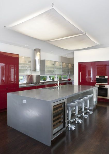A Dark, Glossy Red Fridge. Covering Built-in Refrigerators