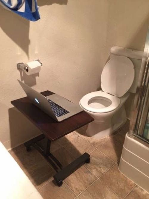Bathroom Jokes work while you poop! --toilet laptop workstation -- best funny