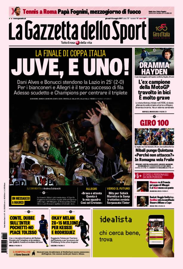 La Gazzetta dello Sport // 18/05/2017 // La Gazzetta