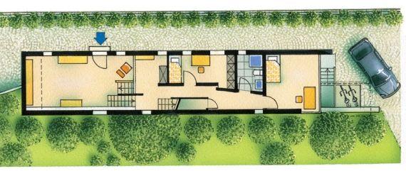 Neubau in schmaler Bauform Grundriss Erdgeschoss
