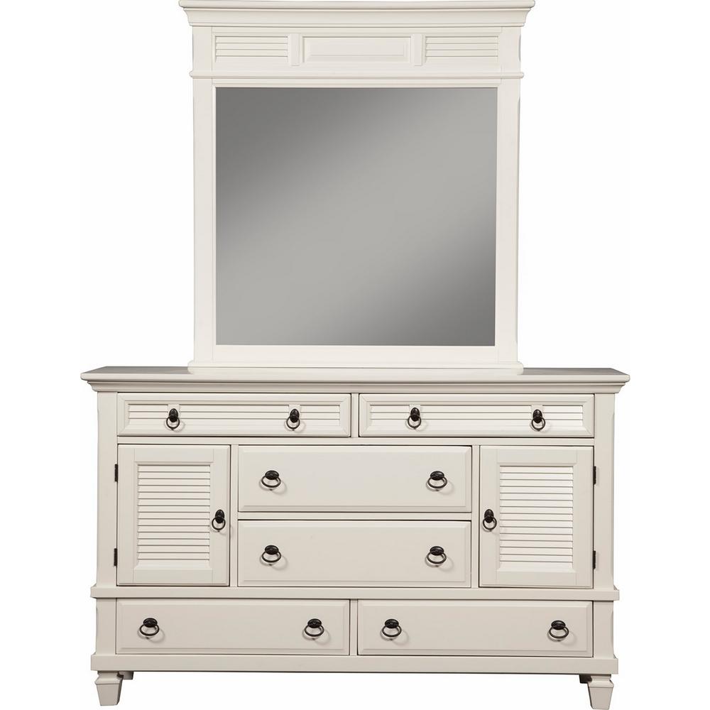 Alpine Furniture Winchester 2 Cabinet6 Drawer Dresser in White