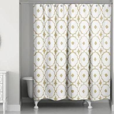 Designs Direct Glam Golden Quatrefoil Shower Curtain Yellow Gold