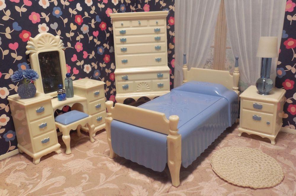 Ideal PRETTY BEDROOM SET Vintage Renwal Sz Tin Dollhouse Furniture Plastic 1 :16 #Ideal