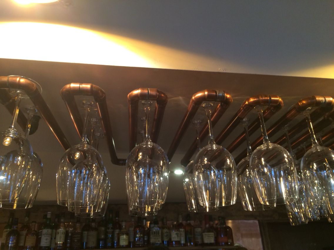 Copper Pipe Wine Glass Holder For The Home Wine Glass