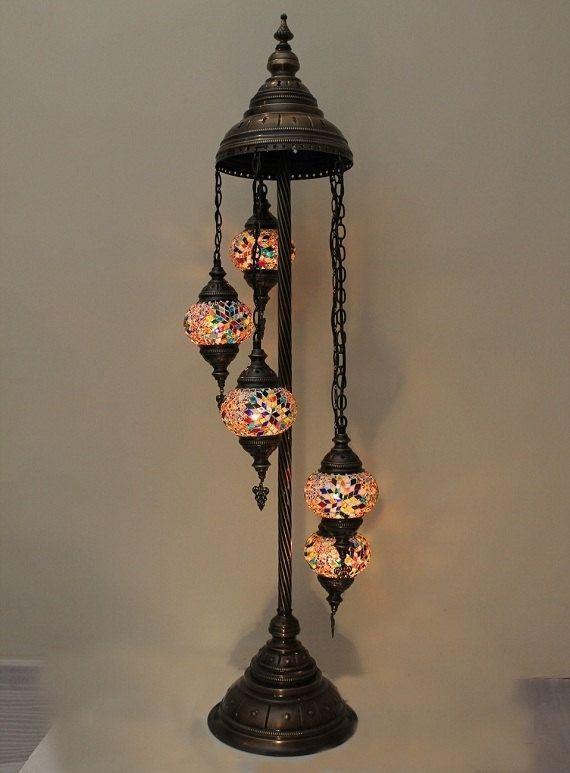 5 Ball Handmade Mosaic Lamp Ottoman Design Turkish Mosaic Floor Lamp ...