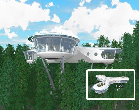 futuristic houses | creative futuristic tree house design | art