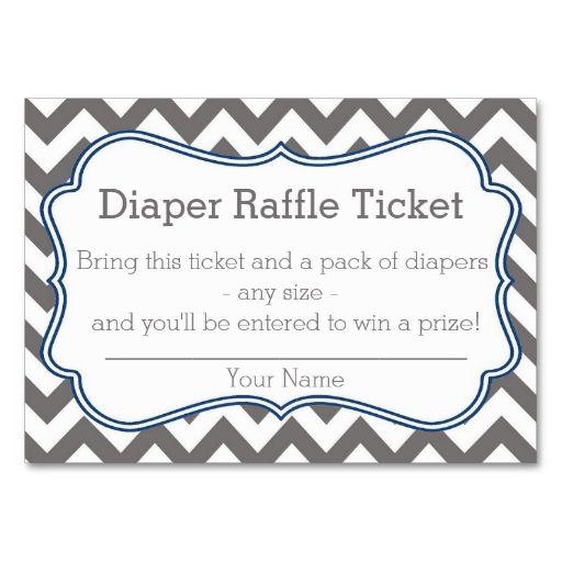 grey and blue chevron diaper raffle ticket enclosure card
