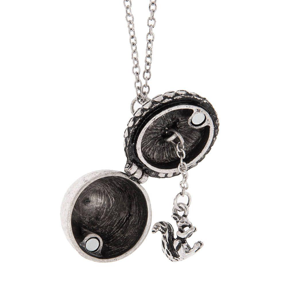 Antique silver acorn locket with squirrel pendant necklace antique silver acorn locket with squirrel pendant necklace claires aloadofball Gallery