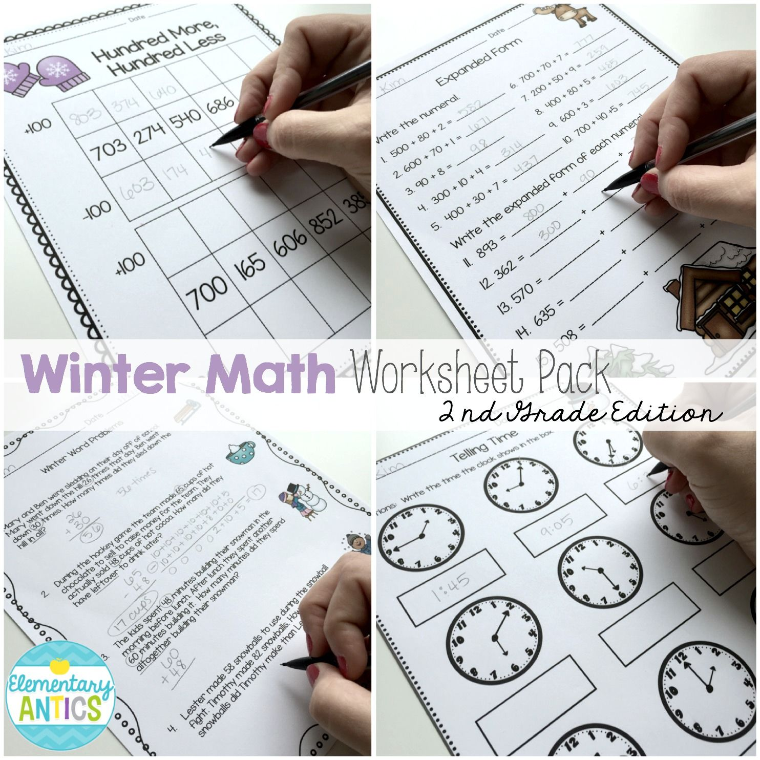 Winter Math Worksheet Pack 2nd Grade Math Worksheets Telling