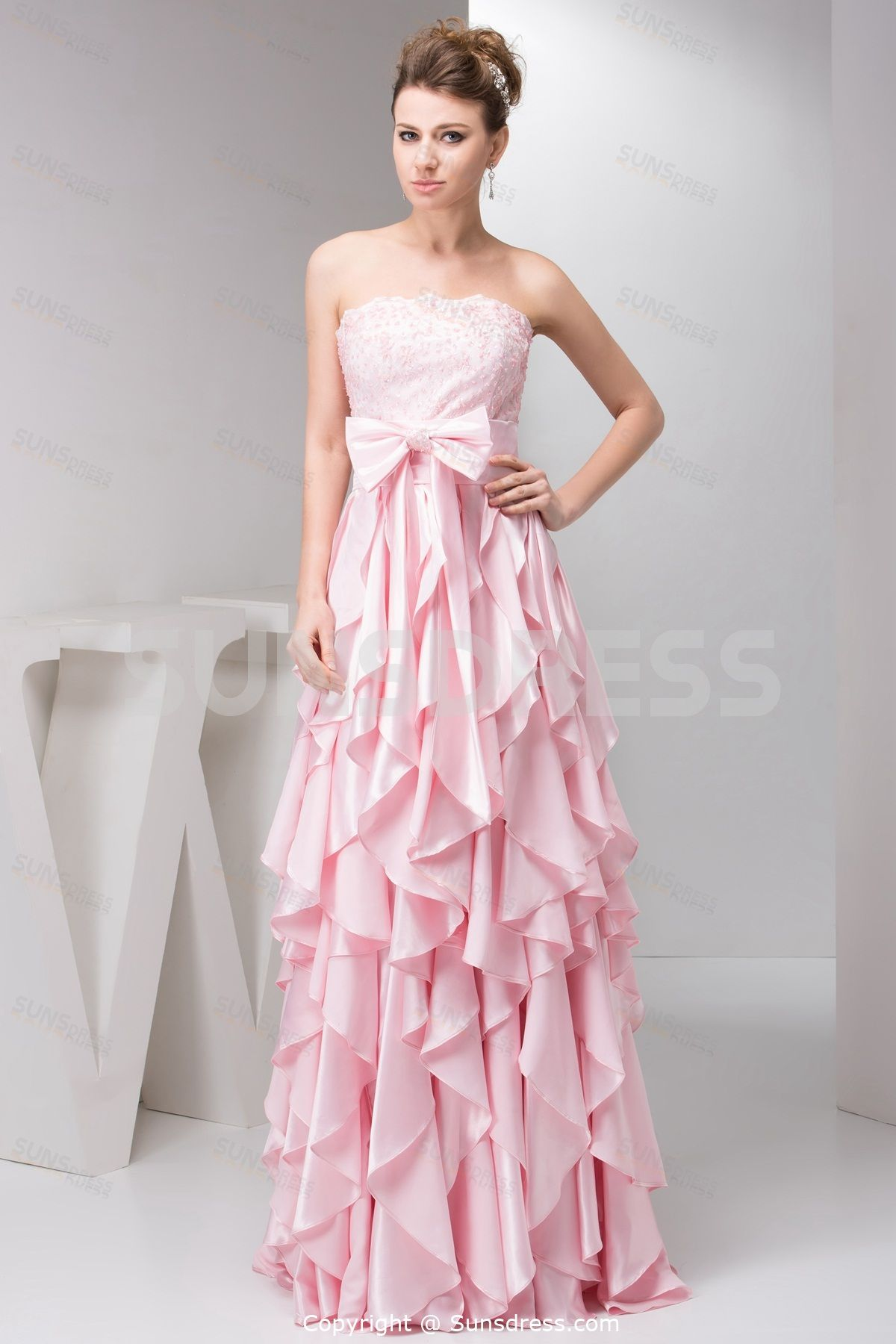 Pink Strapless Floor Length Cascading Ruffles Beading Lace Party ...