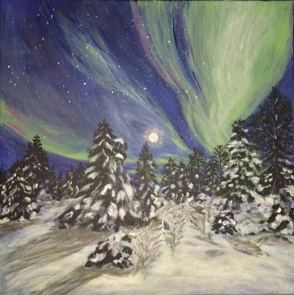 """Northern Lights"" Acrylic on canvas 12 x 12. To be featured in the Square Foot Show Dec. 10 - 13/2015 at Julia Veenstra Studio, Hamilton #squarefootshow"