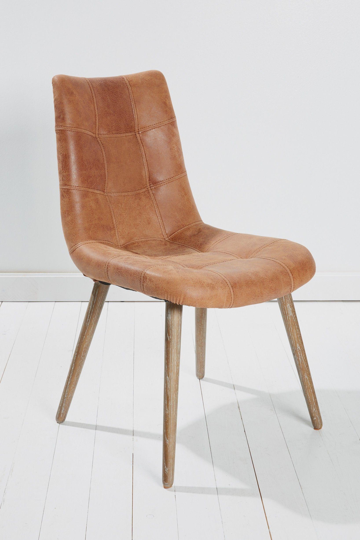 Echtleder Esszimmerstuhl in hellbraunDieser Stuhl aus