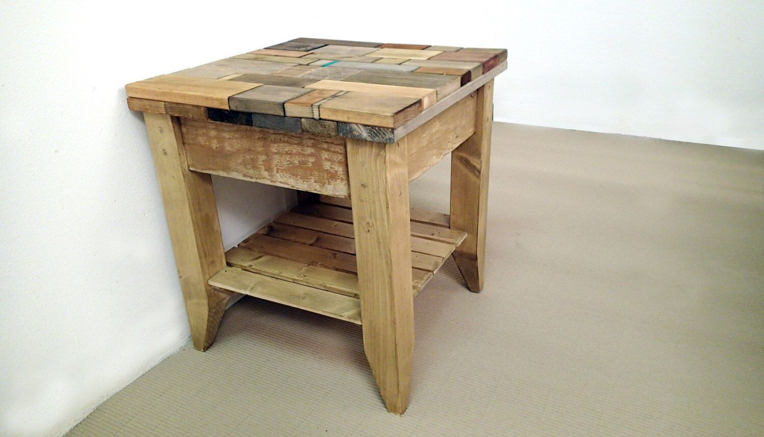 Reclaimed wood side table Wood table Recycled