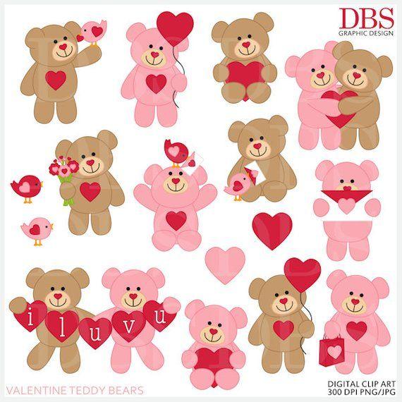 Valentine S Day Valentines Clipart Clip Art Valentine Etsy In 2021 Valentine Clipart Teddy Bears Valentines Clip Art