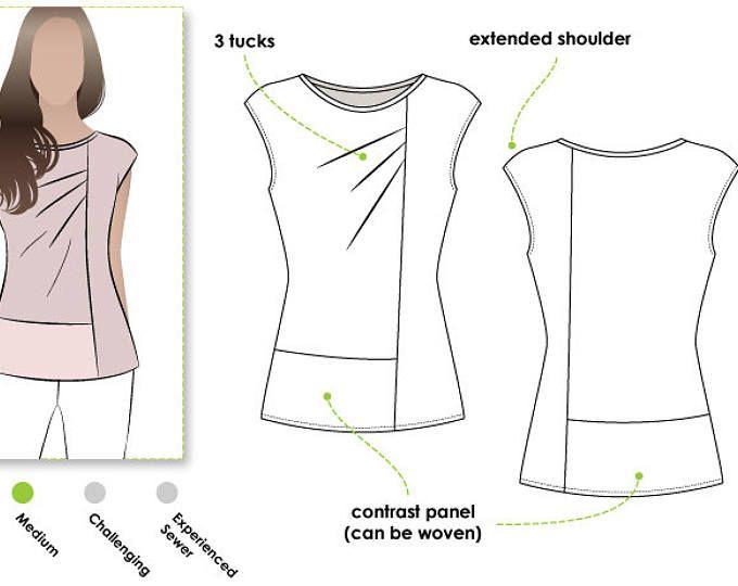 Lotti Knit Top - Sizes 10, 12, 14 - Women\'s Knit Top PDF Sewing ...