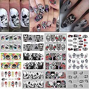 250+ Halloween Nail Art Decals – Skull Head Vampire Rose Nail Art Decals