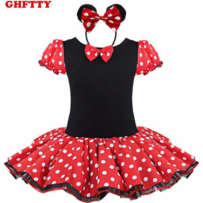 US XMAS Baby Girls Minnie Mouse Ballet Leotard Dress Tutu Skirt Headband Costume