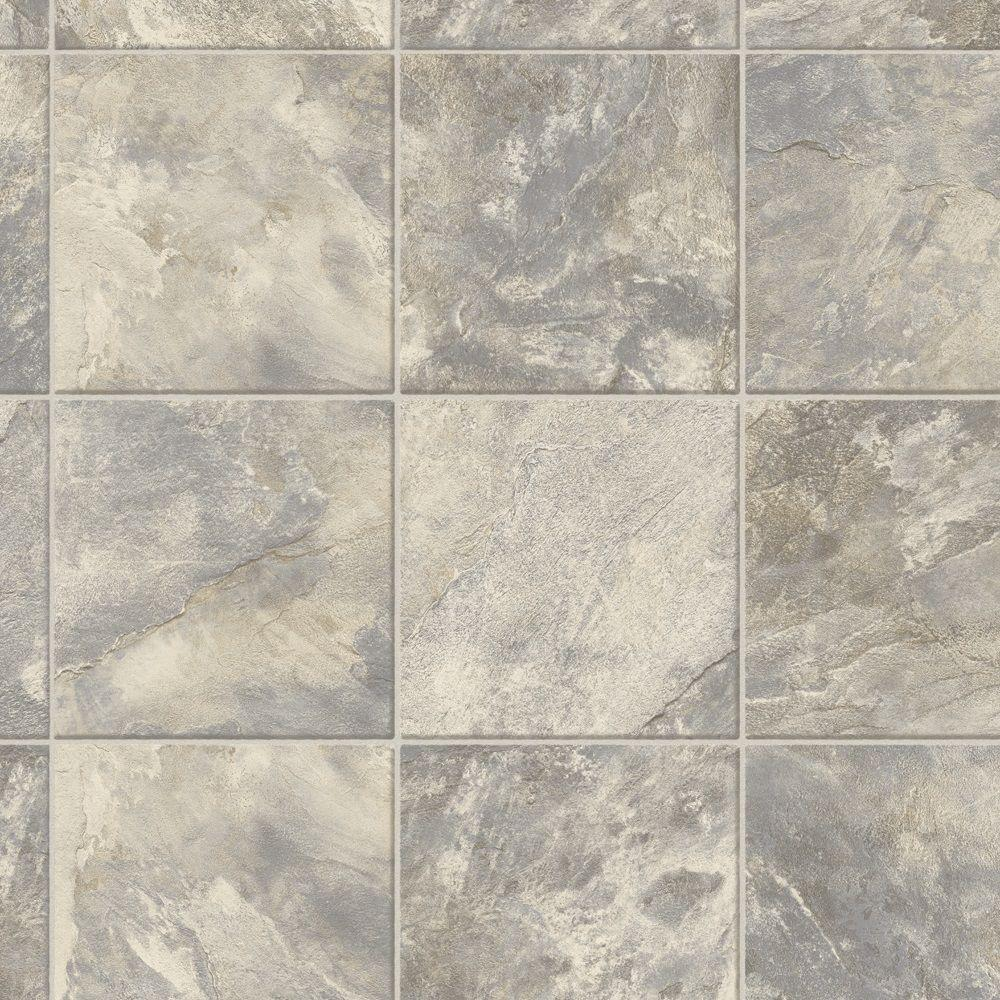 Trafficmaster Neutral Square Slate Vinyl Sheet Sold By 12 Ft Wide X Custom Length U6920 258c990p144 The Home Depot Vinyl Sheet Flooring Vinyl Flooring Flooring