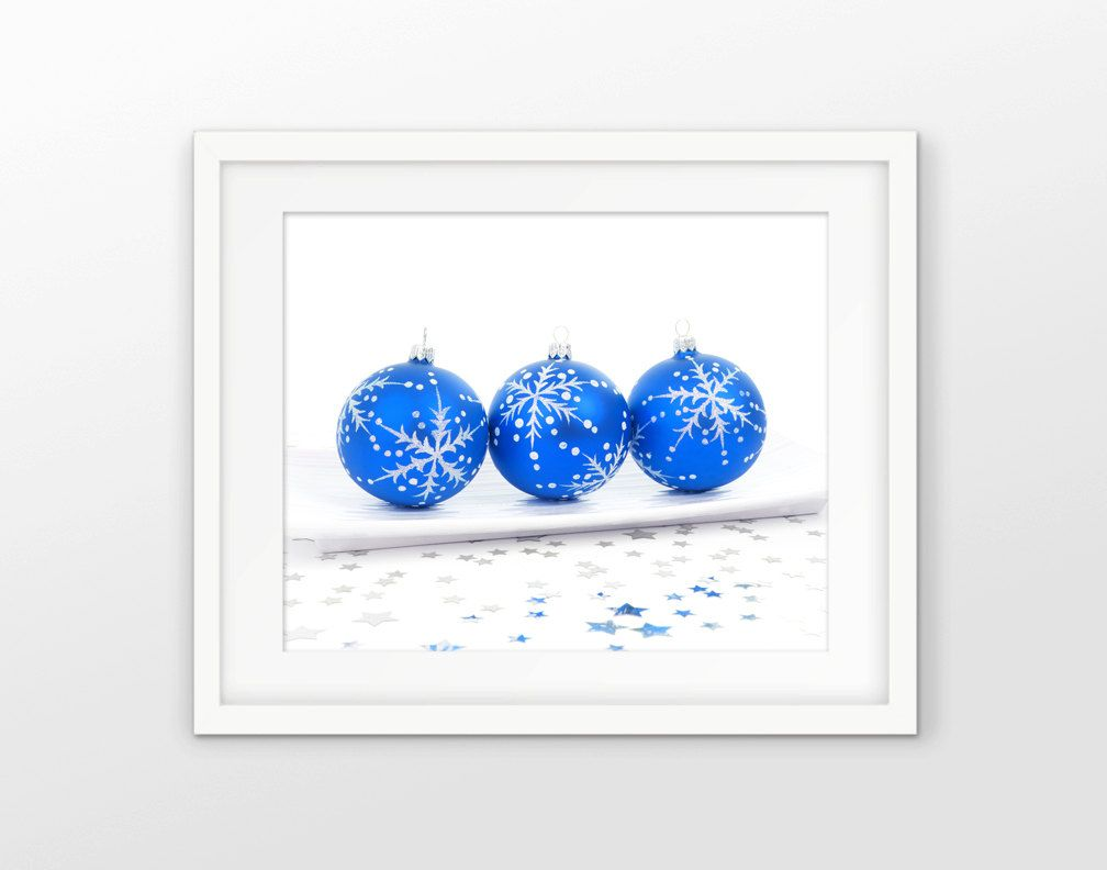 Printable Blue Christmas Bauble Party Art - Blue Christmas Decoration - Seasonal Art - Bauble Christmas Decor - INSTANT DOWNLOAD #2550 (3.00 GBP) by InstantGraphics