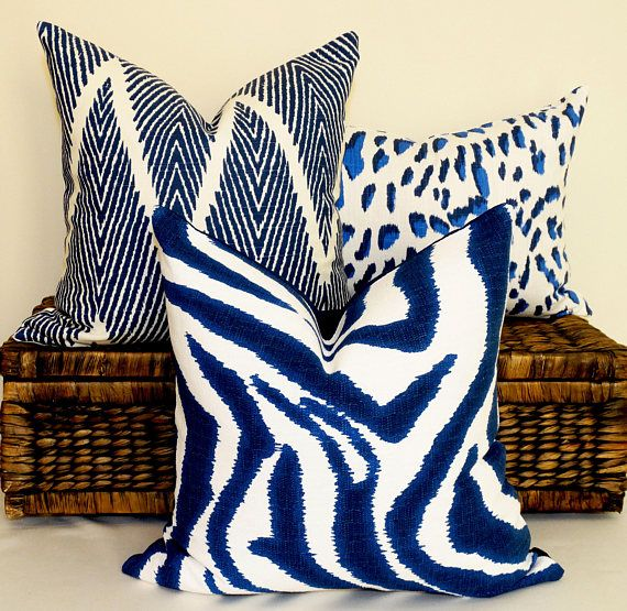 Blue zebra cushion safari pillow african animal print navy and white flax decorative accent throw hamptons style coastal home eclectic decor