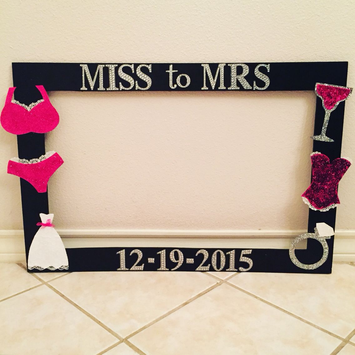 Diy Miss To Mrs Photo Frame Party Photo Frame Bachelorette