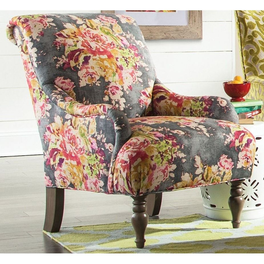 Charcoal pink floral classic accent chair evanna