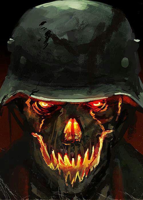 Army Skull   Army in 2019   Skull art, Zombie army, Horror art
