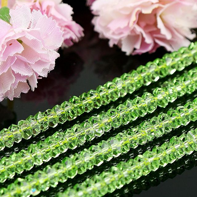 5X3MM NATURAL GREEN CRYSTAL GLASS LOOSE BEADS 15  L98
