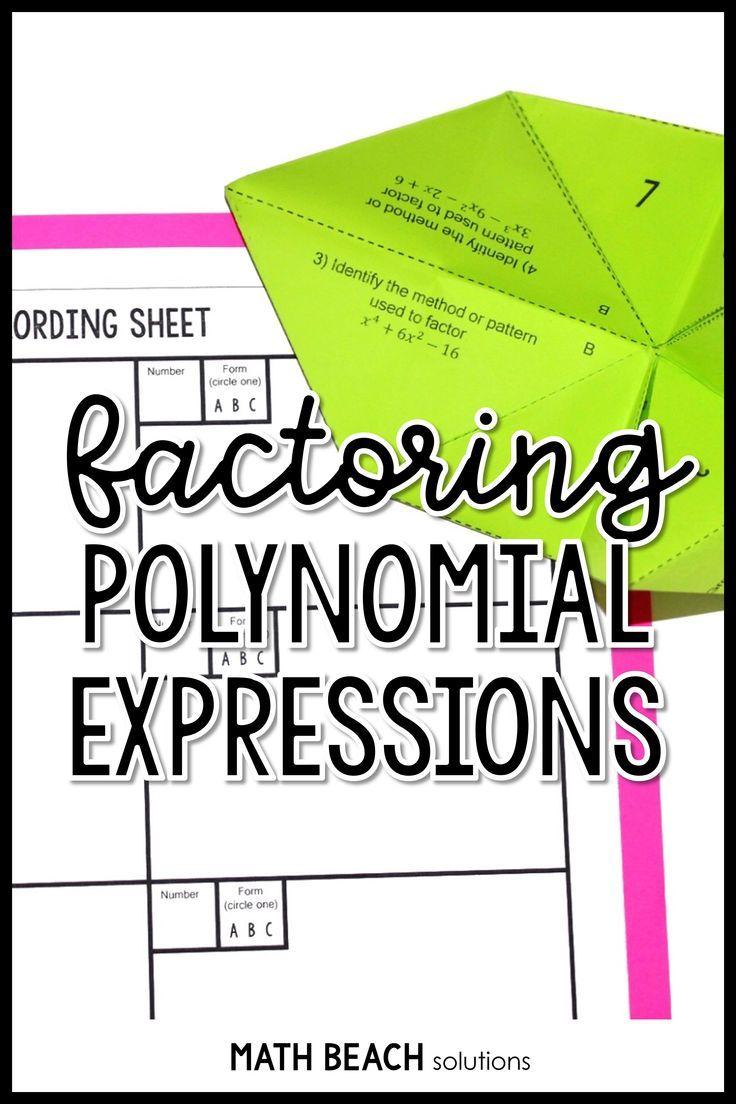 Factoring Polynomials Fortune Teller Activity Algebra