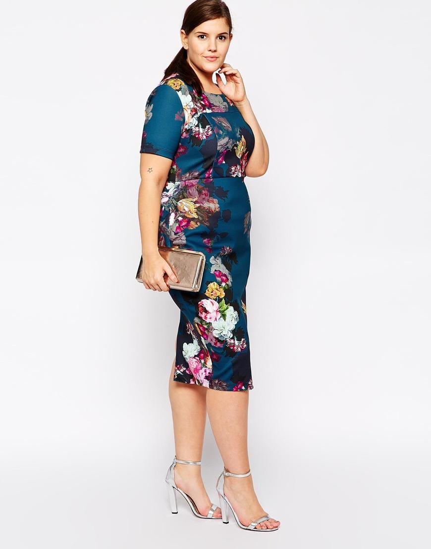 Curvy wedding guest dresses asos  ASOS Curve  ASOS CURVE Floral Print Scuba BodyConscious Dress at