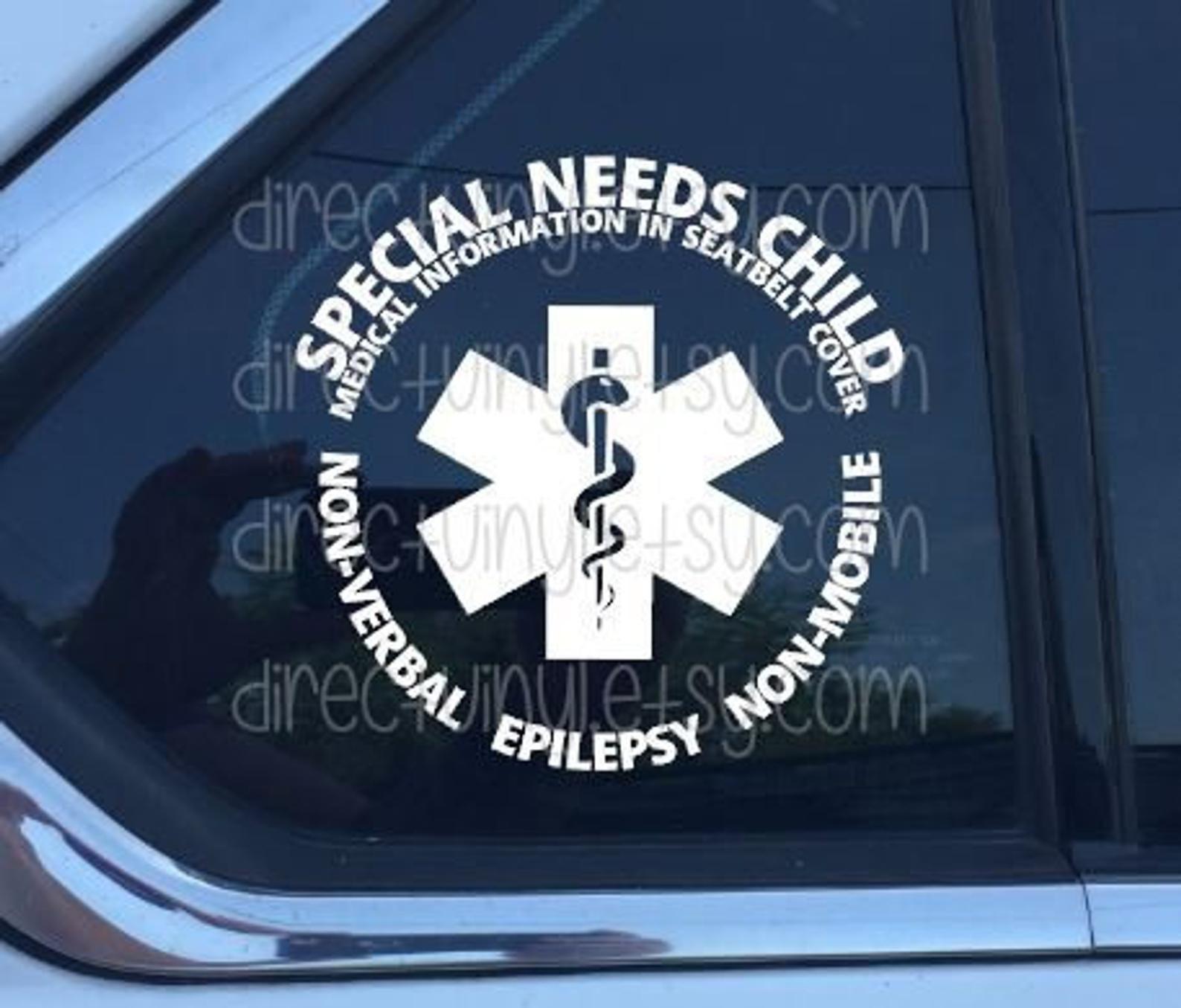 YOU CHOOSE TEXT Special Needs/ Medical Alert Car Window