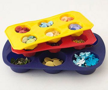 #papercraft #craft supply #organization: Use Muffin Pans and Ice Cube Trays to Organize Scrapbooking Embellishments