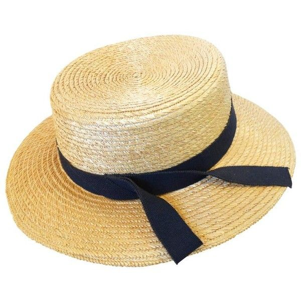3dca01b2af4 Preowned Rare 1980s Yves Saint Laurent Rive Gauche Straw Boater Hat ( 575)  ❤ liked on Polyvore featuring accessories