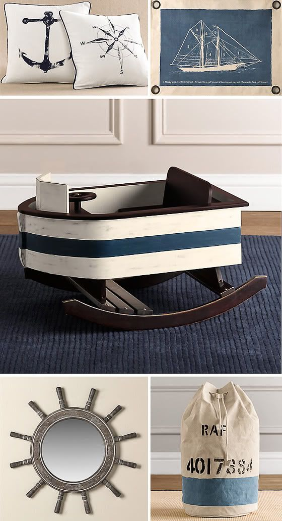 Nautical Decor Ad Includes A Child S Blue And White Wooden