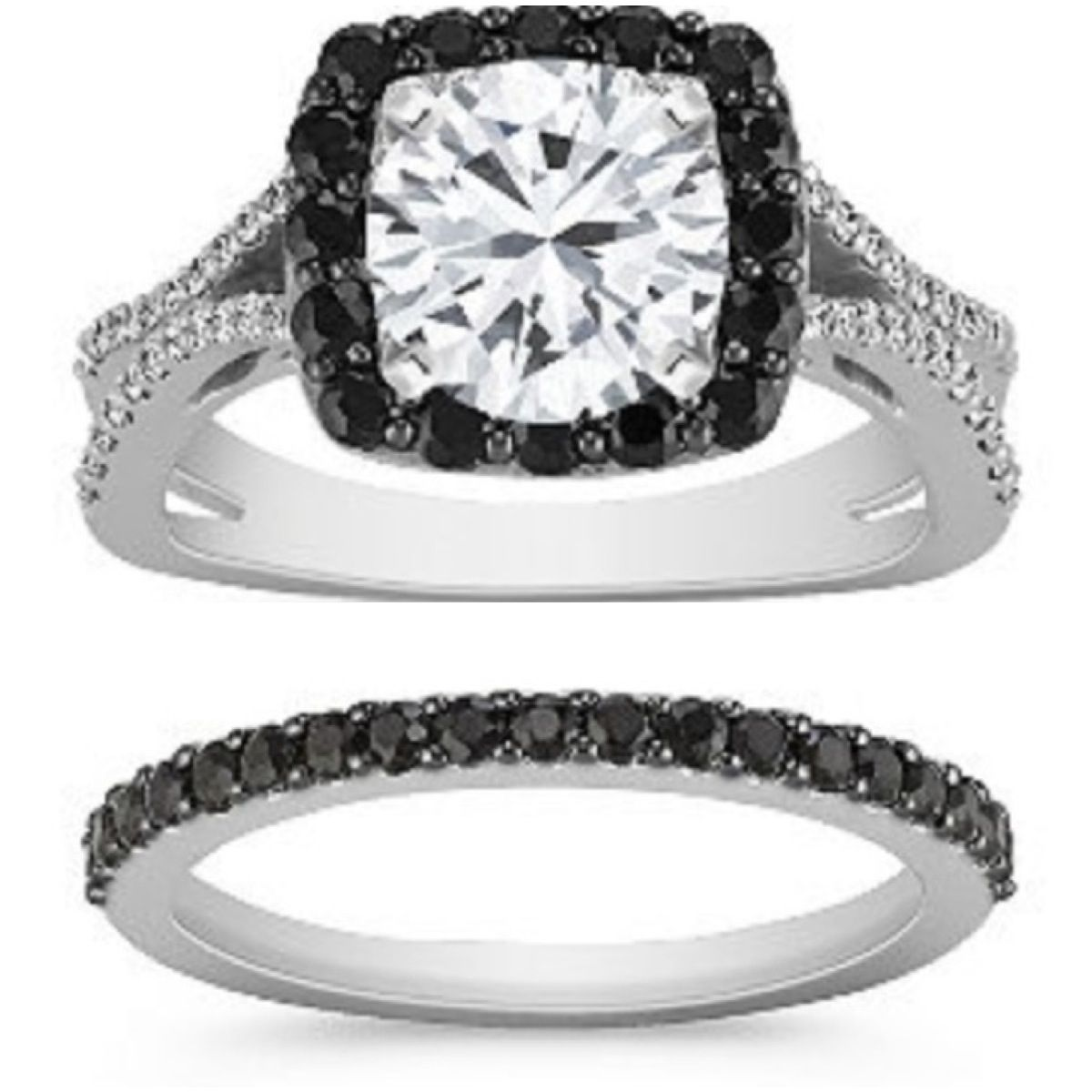 Black sapphire setting and wedding band black sapphire