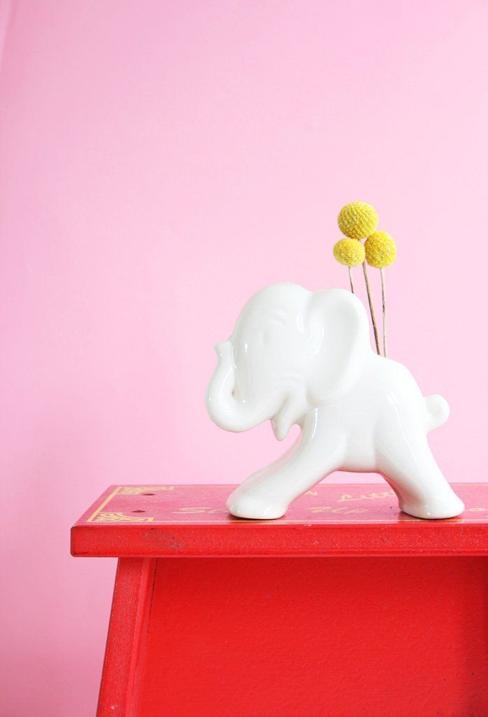 Vintage Ceramic Elephant Planter 1940s Uhl Pottery White Elephant