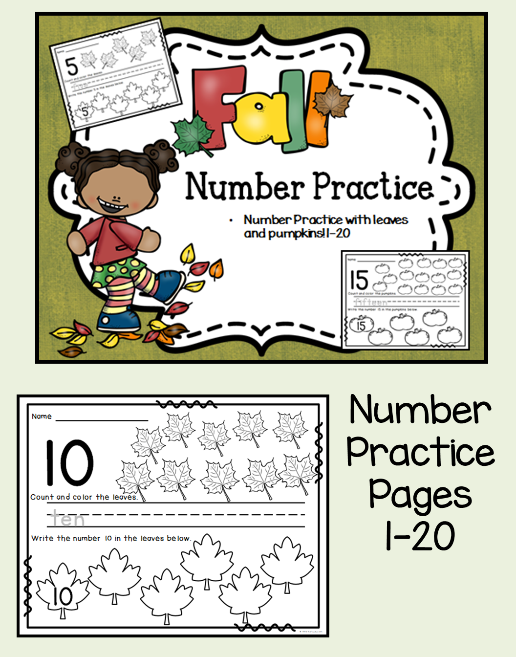 Fall Themed Number Practice Pages 1 20 These Number