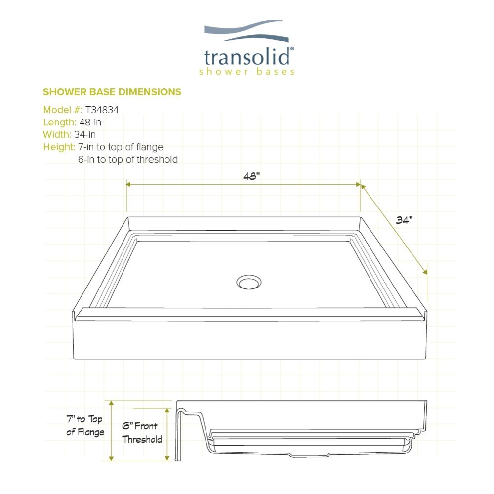 Transolid T3 48 X 34 Single Threshold Shower Base With Center