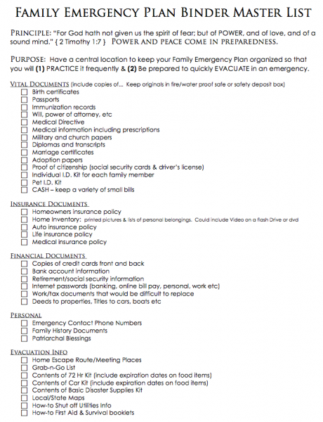 Free printables to create a family emergency plan binder for Emergency response checklist template