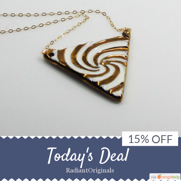 Today Only! 15% OFF this item.  Follow us on Pinterest to be the first to see our exciting Daily Deals. Today's Product: Porcelain and gold triangle pendant with gold filled chain, gift Buy now: https://www.etsy.com/listing/207698119?utm_source=Pinterest&utm_medium=Orangetwig_Marketing&utm_campaign=Daily%20Deal   #etsy #etsyseller #etsyshop #etsylove #etsyfinds #etsygifts #handmade #etsyjewelry #etsysellers #etsyfinds #musthave #loveit #instacool #shop #shopping #onlineshopping #instashop…