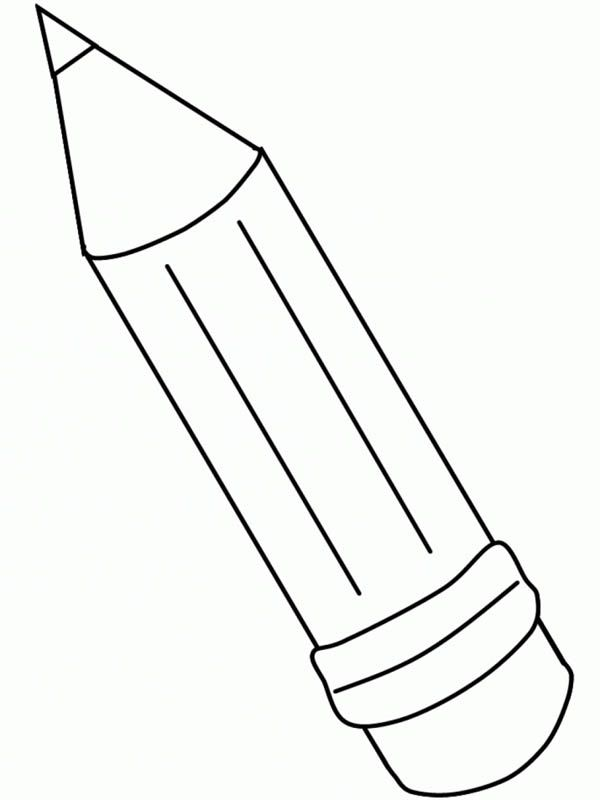 A Simple Lineart Of Wooden Pencil Coloring Page School Coloring