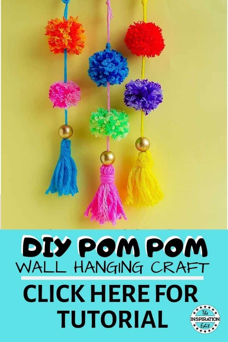 Make Your Own Yarn Pom Pom Craft The Inspiration Edit In 2020 Arts And Crafts For Kids Wall Hanging Crafts Creative Kids Crafts