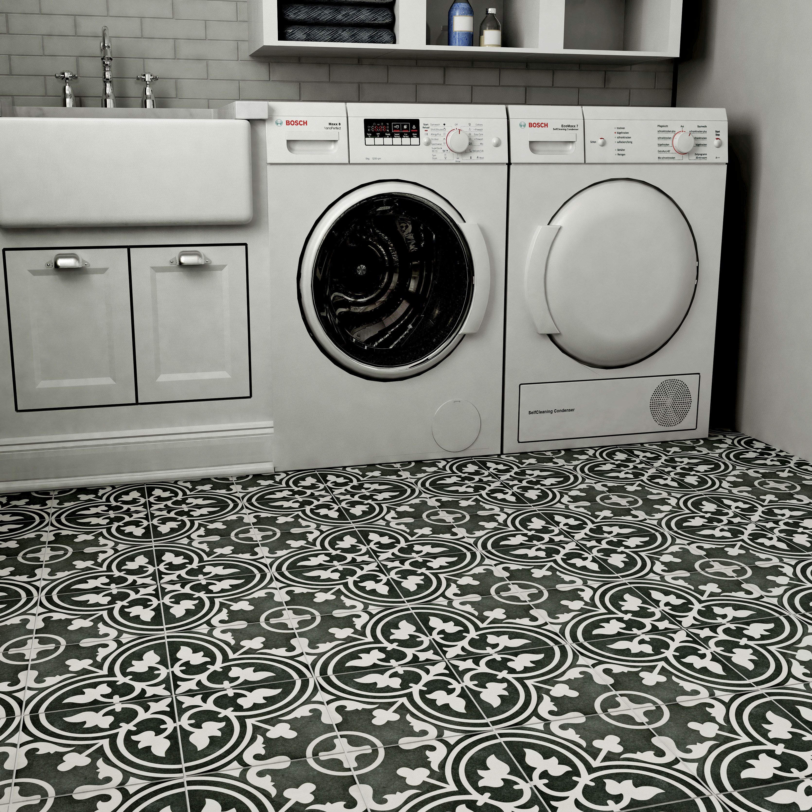 Elitetile Arte 975 X 975 Porcelain Field Tile In Black