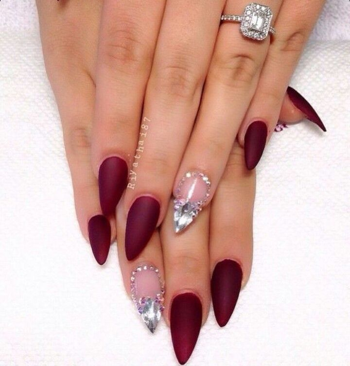 Matte Wine Red Almond Shape Acrylic Nails w/ Rhinestones