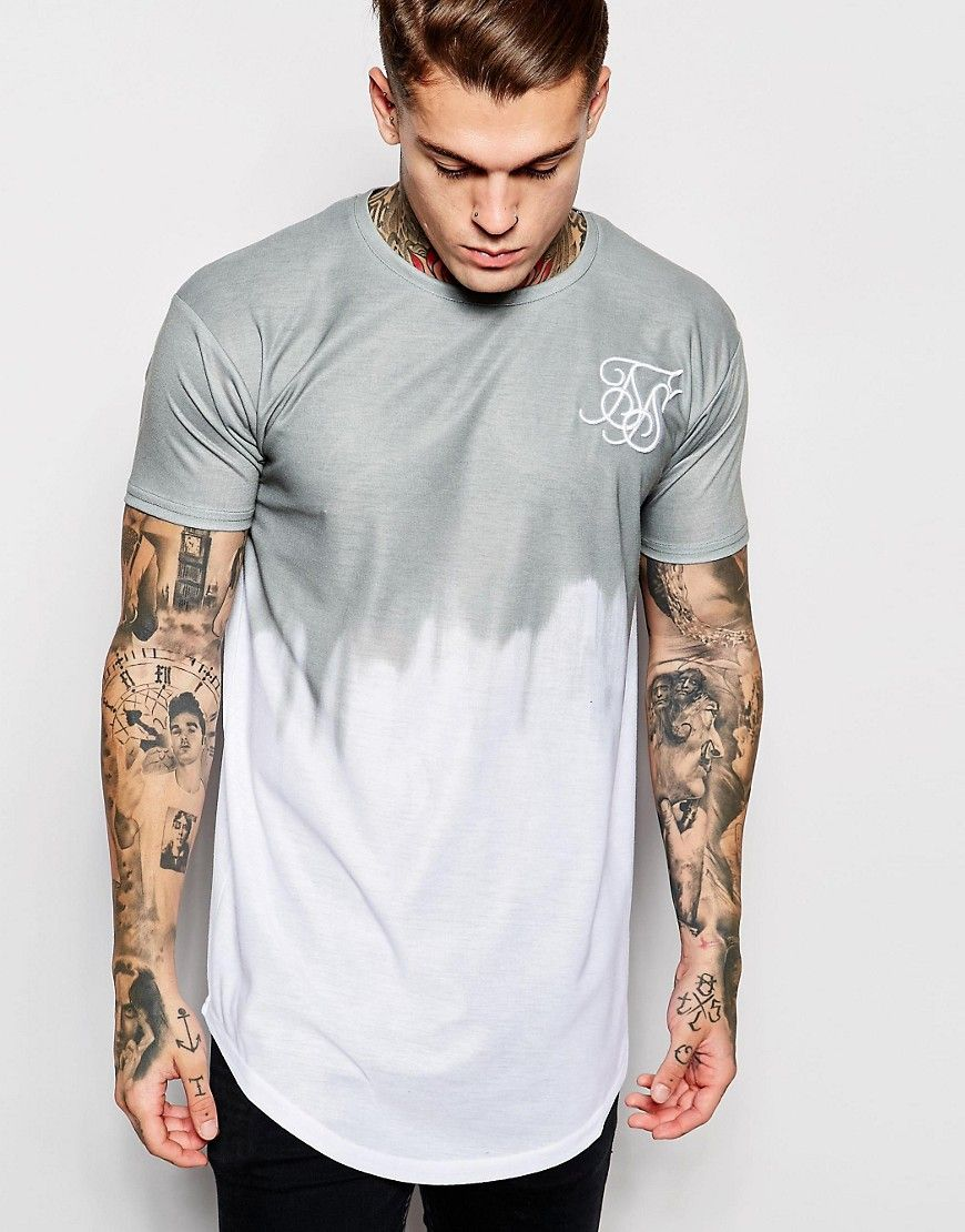 Super cool SikSilk Dip Dye T-Shirt With Curved Hem - White SikSilk T-Shirts & Veste til Herrer til hverdag og fest