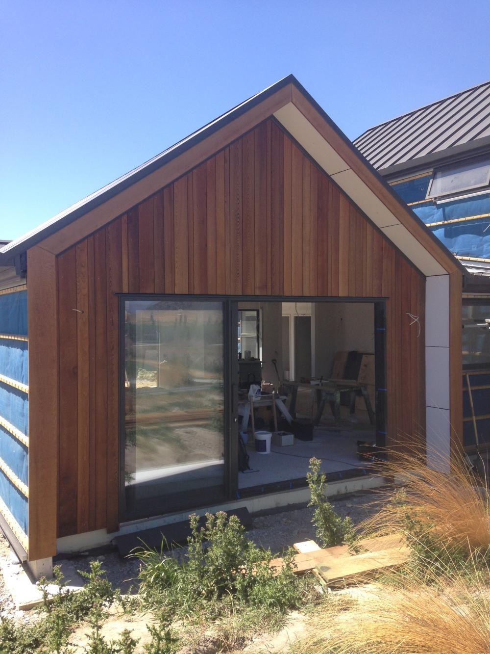 Cedar cladding wingwall gable building nz for Small cedar homes
